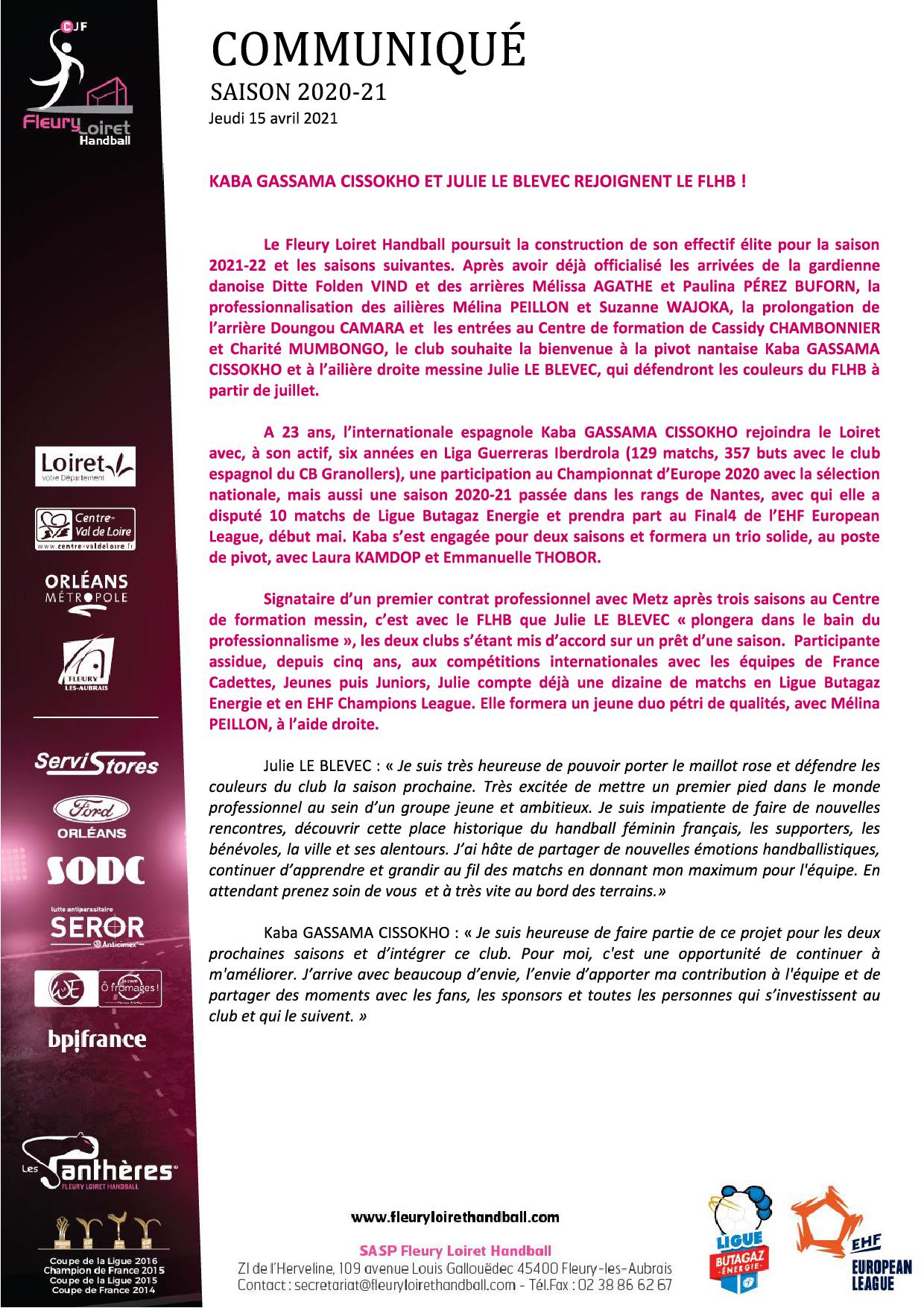Communiqué Fleury Loiret Handball - Jeudi 15 avril 20211.jpg
