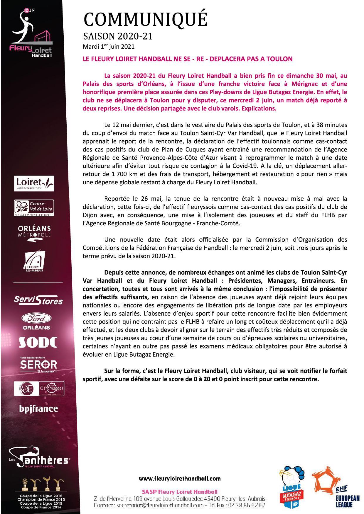 Communiqué Fleury Loiret Handball - Mardi 1er juin 2021.jpg