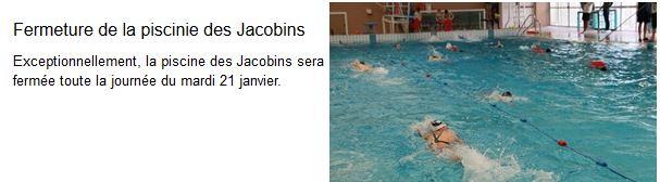Capture fermeture de la piscine des Jacobins le 21 Janvier 2020