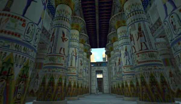 La reconstitution de la salle hypostyle de Karnak avec son plafond et sa décoration colorée..jpg