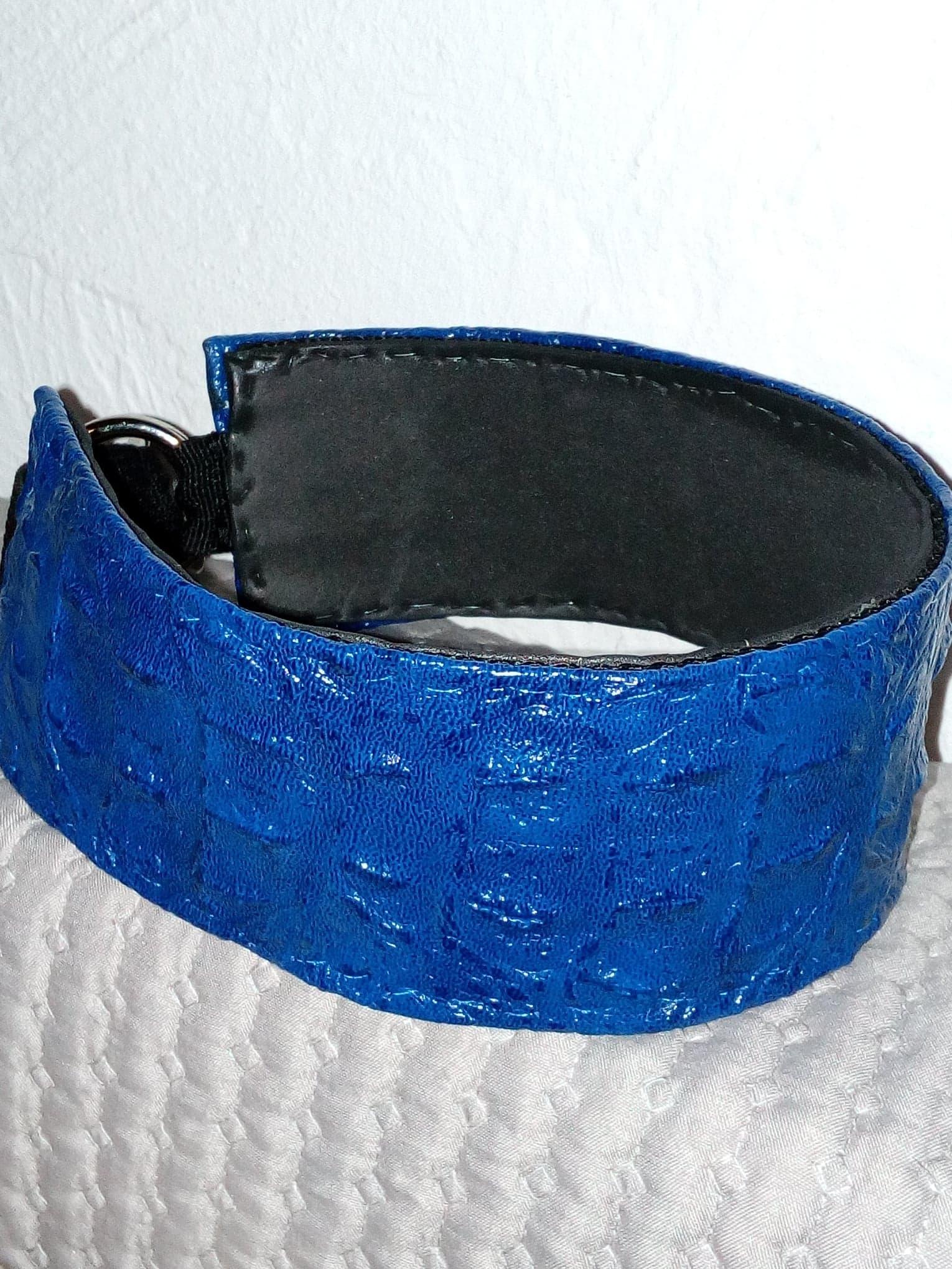 Nouveau modèle en simili cuir aspect croco, bleu ( 3, 4 ou 5 cm de largeur)