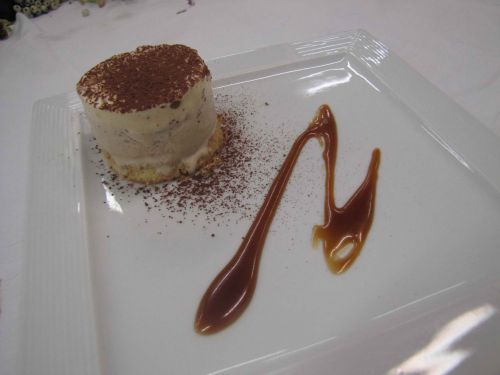 Biscuit, espuma de mascarpone et glace au café