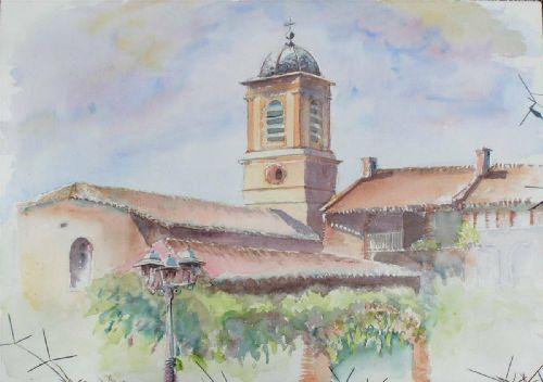Escatalens 2005 245 h tel et clocher monique fesquet for Aquarelle piscine hotel seneffe