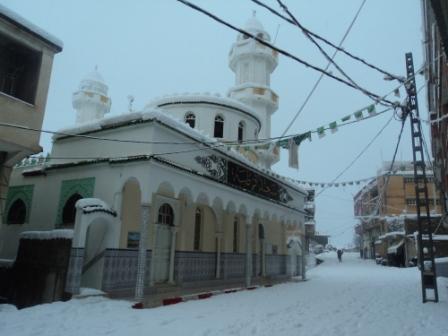 Mosquée centrale de Lemroudj sous la neige