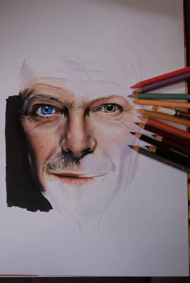 David Bowie dessin au Prismacolor et Promarker (en cours...)