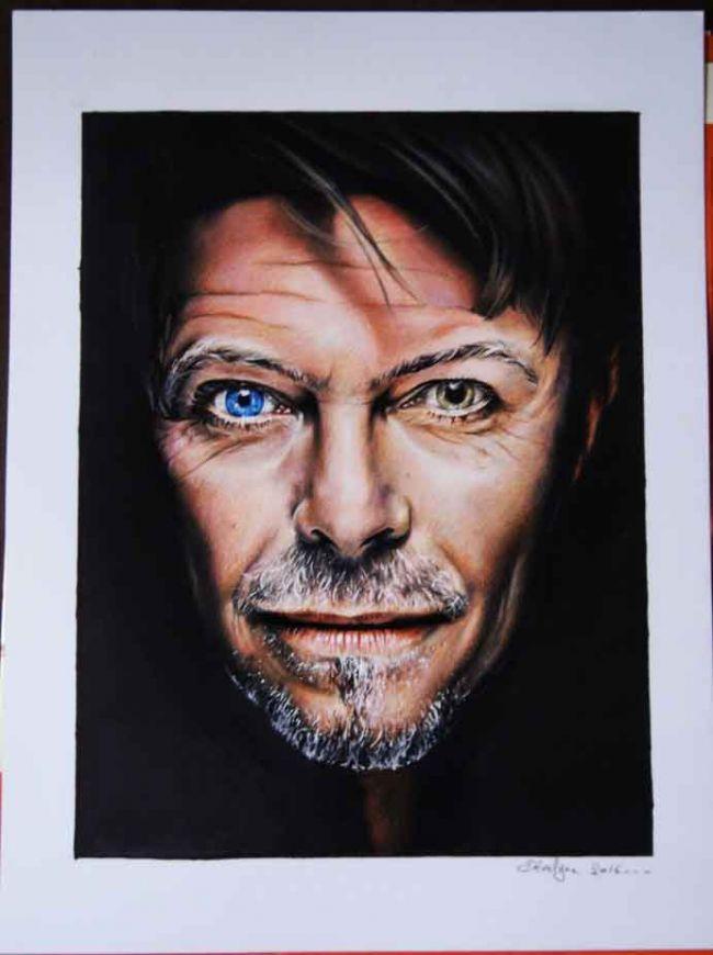 David Bowie dessin au Prismacolor et Promarker