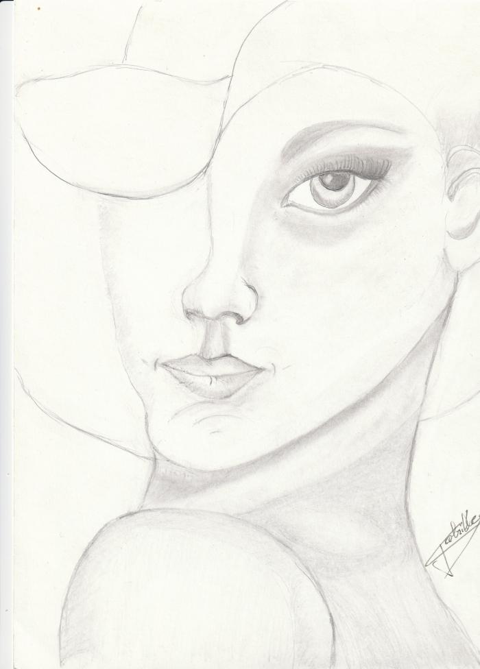 La dame au chapeau  dessin graphite papier cartonné