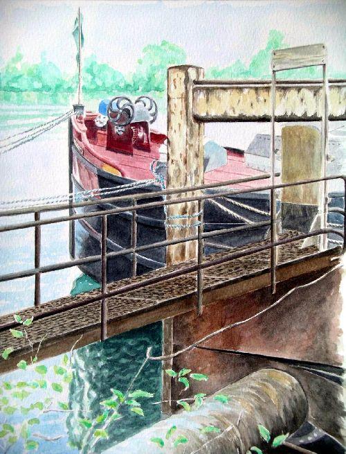 la péniche (2005)  36cm x 27cm
