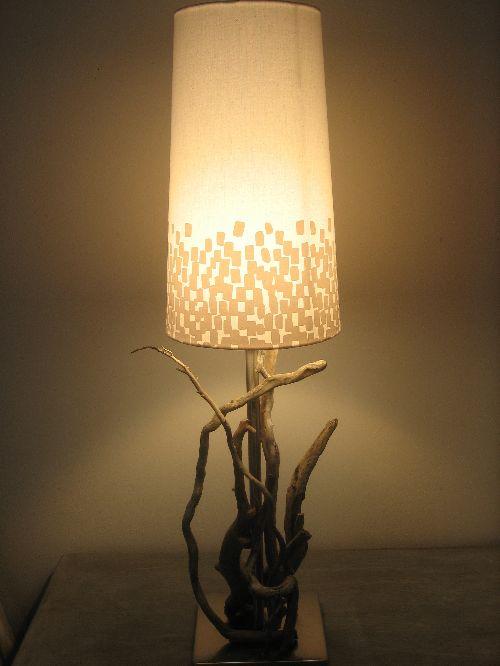 lampe de chevet en bois flotté 1