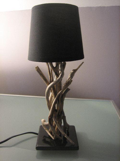 mini lampe de chevet en bois flotté