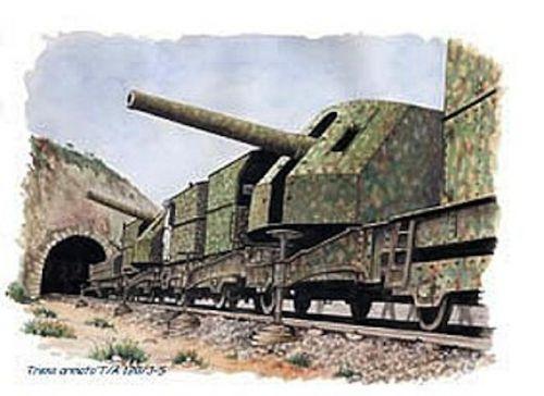 vue d'artiste d'un train blindé de la marine italienne le 120/3/s