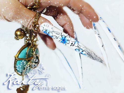 Photo et décorations sur stiletto ( ongles synthétiques géants entièrement peint à main levée )