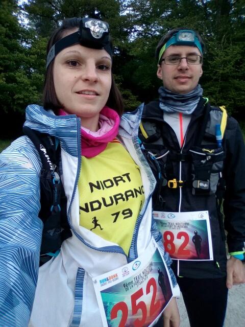 Belle prestation de Laure et Charlie sur le 24km du Trail nocturne de la forêt sur Moulière