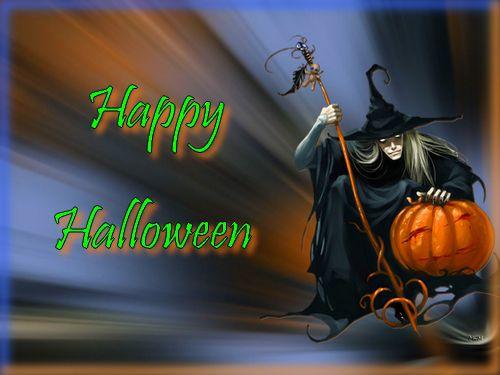 happy halloween witch pumpkin