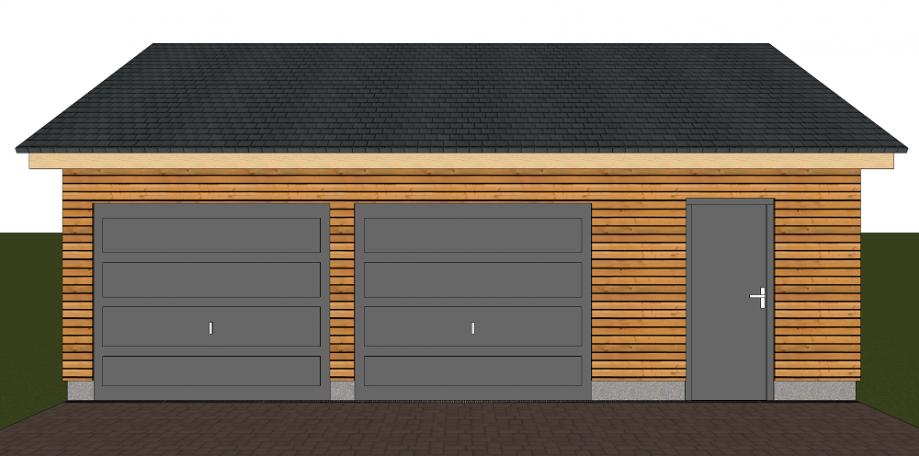 Double garage avec abri de jardin ou local technique