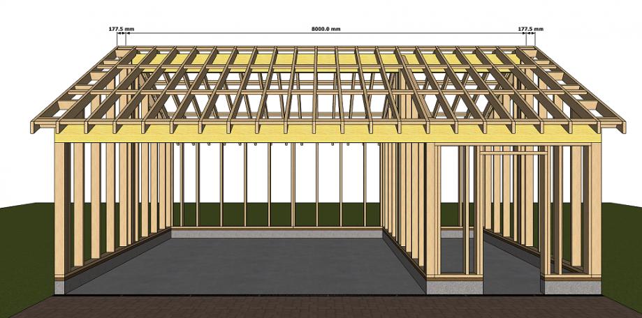 Dimensions structure à ossature bois pool house