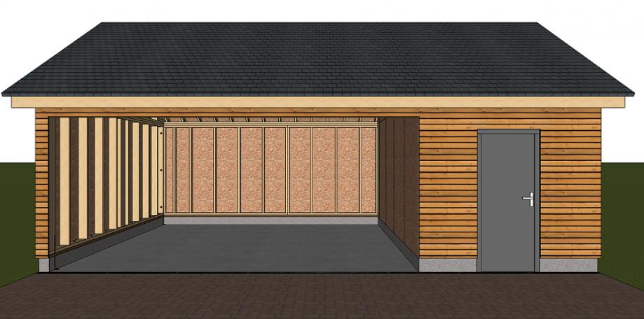 Structure ossature bois pool house avec bardage