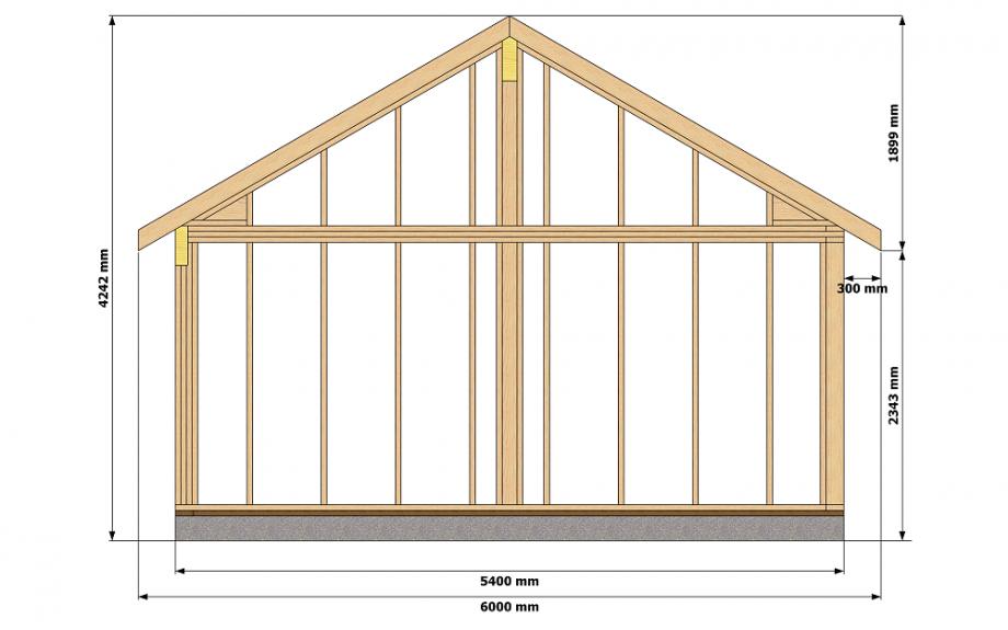 Vue en coupe pool house avec structure ossature bois pour autoconstruction