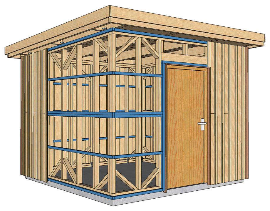 Abri de jardin à ossature bois 5 m2 pour autoconstruction