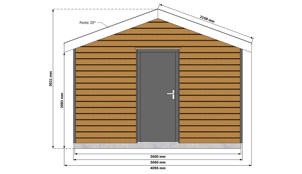 Dimensions abri de jardin ossature bois 15 m2