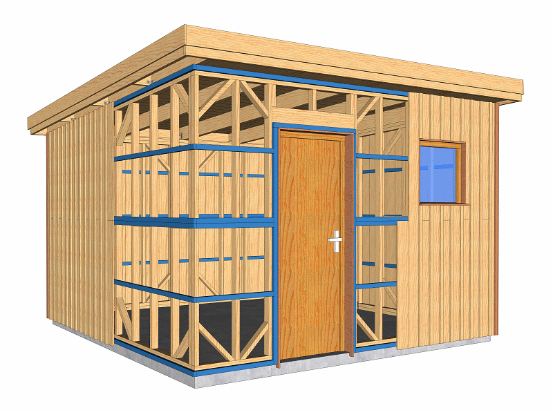 Abri de jardin à ossature bois 13 m2 pour autoconstruction