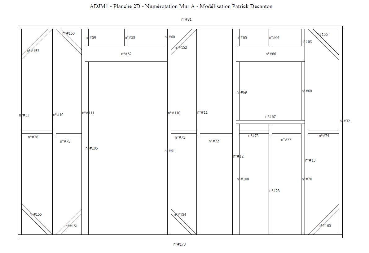 Aperçu d'une planche 2D avec numérotation des pièces