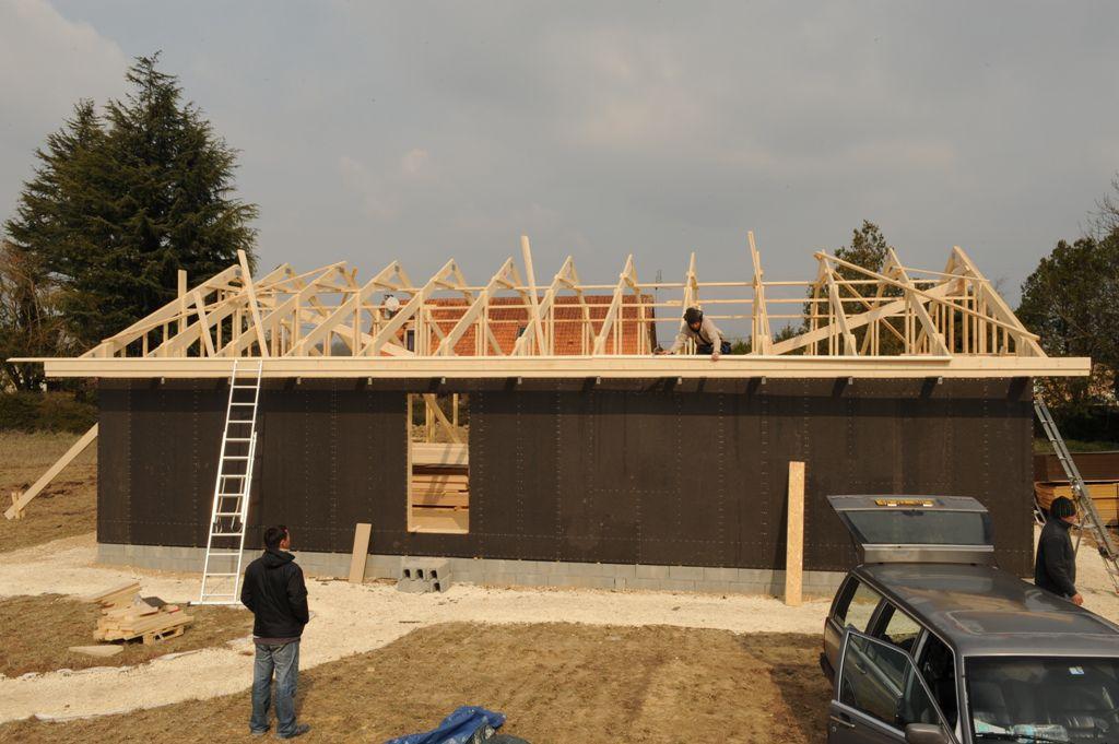 Realisation Platelage Et Pose Ecran De Sous Toiture Autoconstruction Maison Ossature Bois