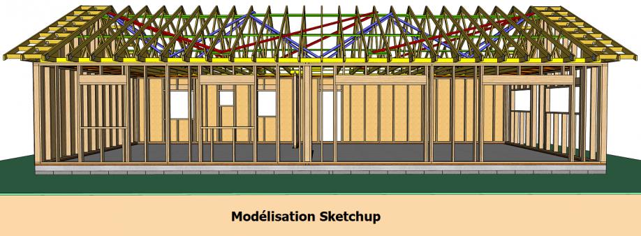 Modélisation Sketchup maison à ossature bois