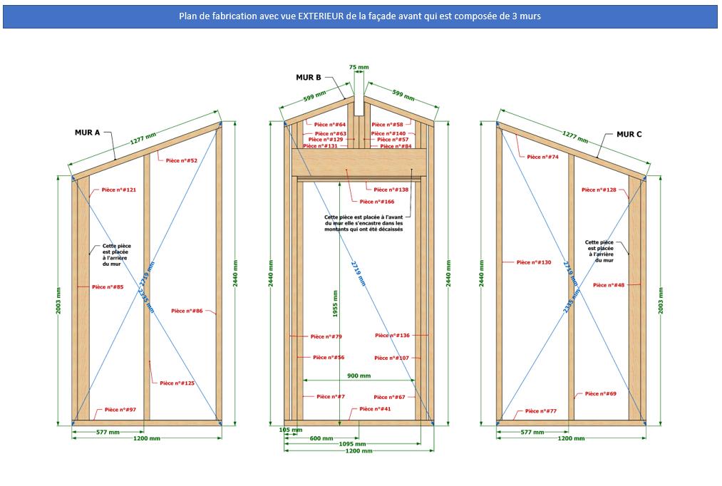 Plan de fabrication murs ossature bois abri de jardin 15 m2