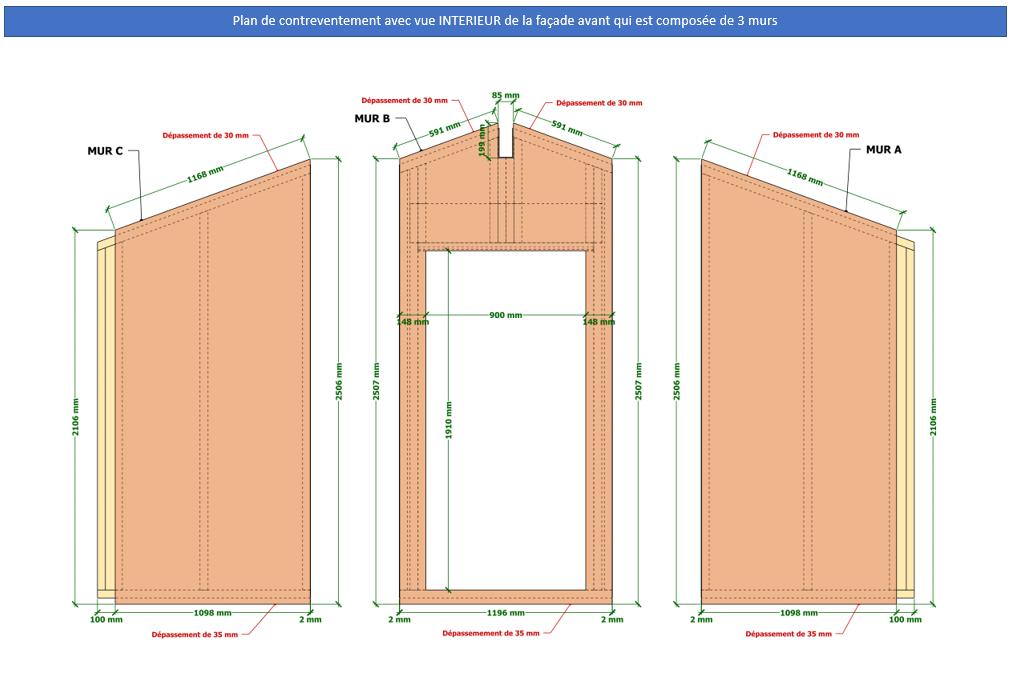 Plan de fabrication contreventement murs ossature bois abri de jardin 15 m2