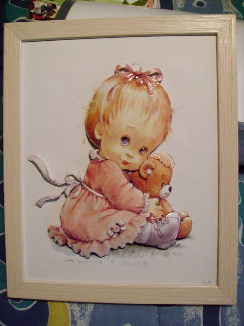 petite fille avec ourson (cadre rose clair) 3D