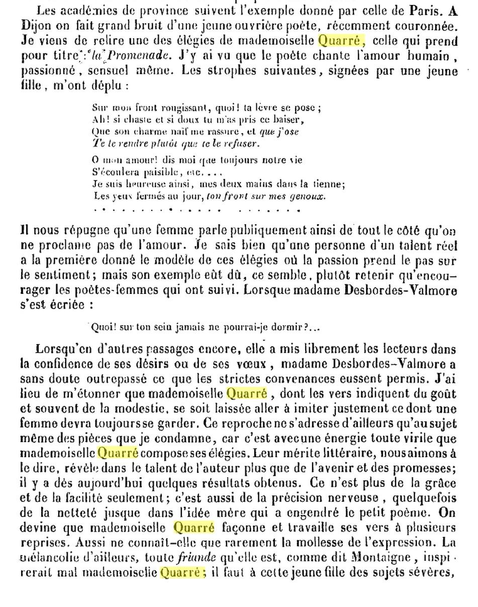 Quarré (Antoinette) 1813 1847 Poétesses d'expression