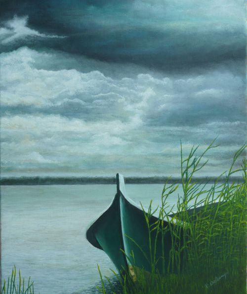 La barque et l'orage  (38X46)