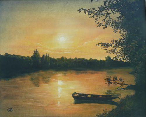 Coucher de soleil sur la rivière  (46X38)