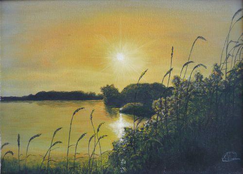 Coucher de soleil sur l'étang  (33X24)
