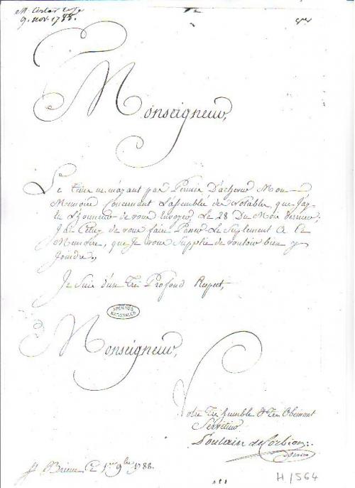 Lettre à Necker du 1er sept 1788 p 1 de 5.JPG