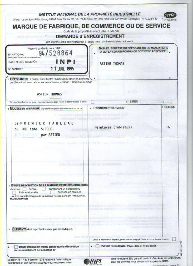 Preuve d'enregistrement auprès de l'INPI - Registration document to the NIIO