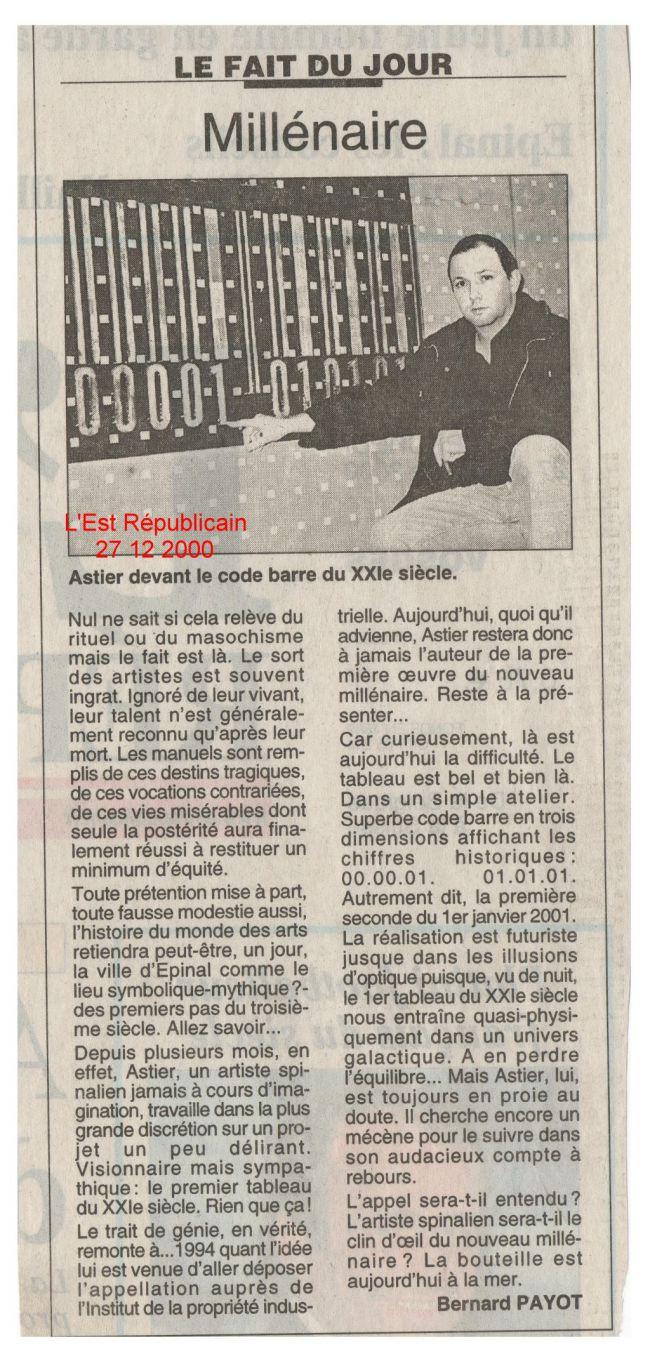 Présentation du Premier Tableau du 21ème Siècle dans l'Est Républicain - Introduction of the First Painting of the 21rst Century in a regional newspaper