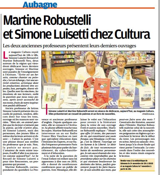 Cultura  7 novembre  2015 La Provence Aubagne.png