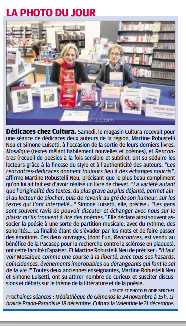 Aubagne La Provence Cultura du 7 Parution   11  Nov 2015 Simone Martine.png