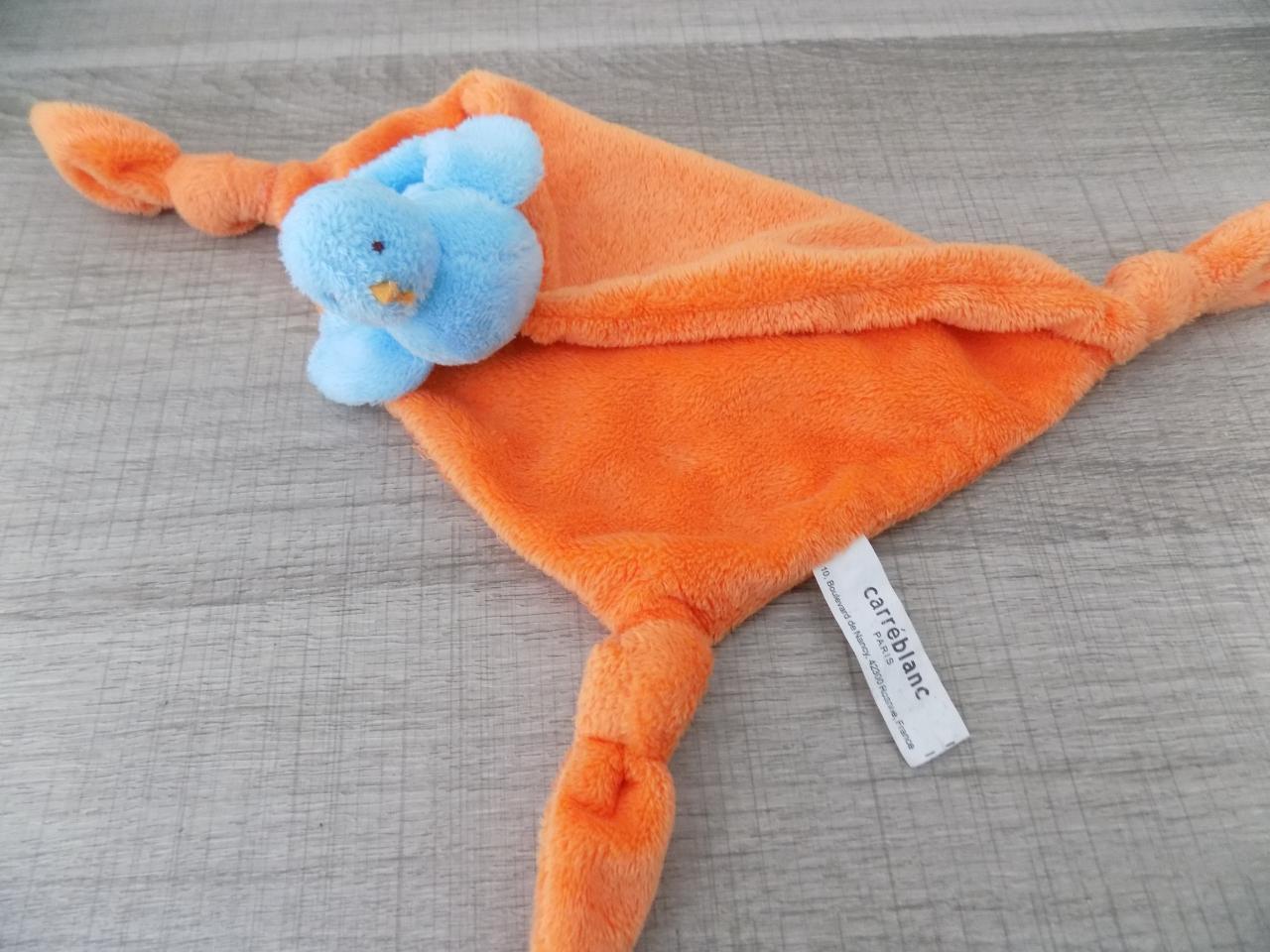 A69 doudou oiseau bleu sur mouchoir orange carr blanc for Oiseau bleu et orange