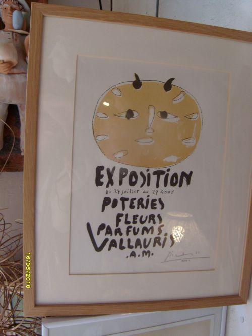Affiche de Picasso (31x24 cm) Exposition de Vallauris - 1200 € (avec cadre)