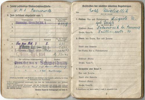 Soldbuch Infanterie division 344- 1kp gren rgt 854
