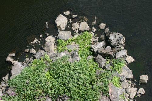 Au pied des piles du pont de Villerest