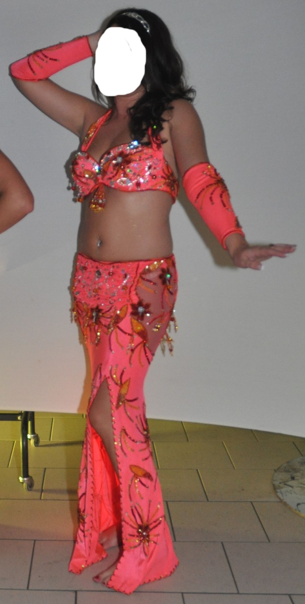 e30ad0c798c007 Costume danse orientale Orange Flash - Iman Danse Orientale ...