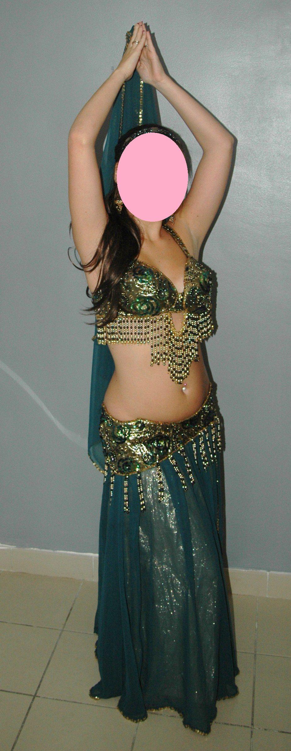 da88bc9a11bfc3 Costume danse orientale Vert / Mordoré + voile perlé assorti - Iman ...