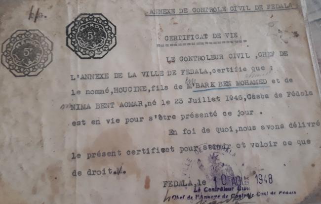 certificat de vie délivré le 10 AOUT 1948