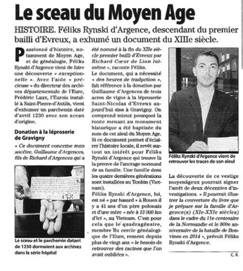 Paris-Normandie (éditions Evreux & Vernon) 9 juin 2011