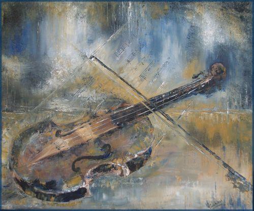 Le violon (45 x 55 cm) huile sur toile