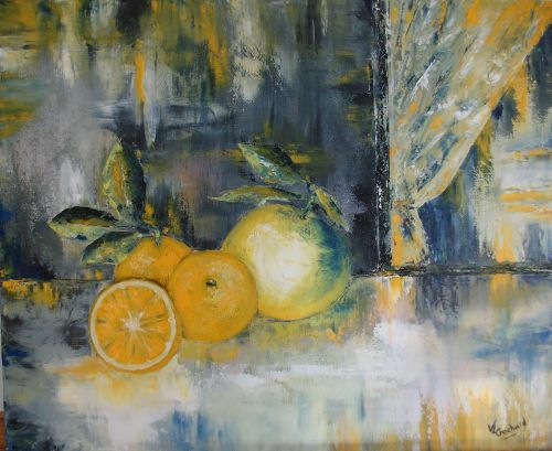 Agrumes, huile sur toile, 38 x 46 cm